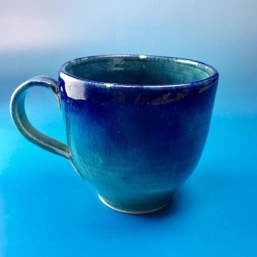 【M001】海の色のマグカップ(うさぎ印)