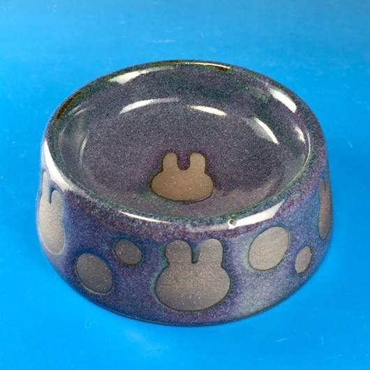 【R008】うさぎ水玉模様のうさぎ様用食器・SMサイズ(赤紫茶系・うさぎ印)