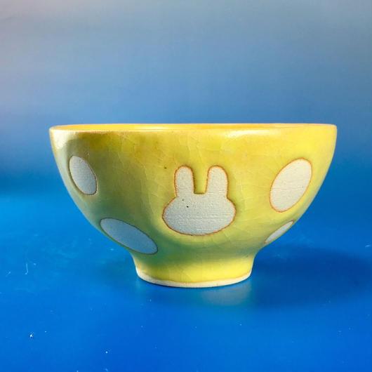 【G046】うさぎ水玉模様のご飯茶碗ミニ(イエロー・うさぎ印)