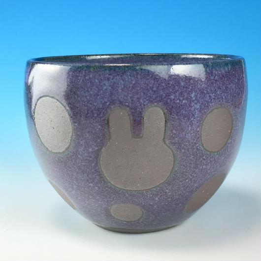 【F018】うさぎ水玉模様のフリーボール(淡青赤土・うさぎ印)