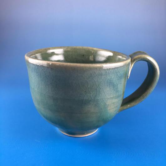 【M004】グリーンのマグカップ(うさぎ印)