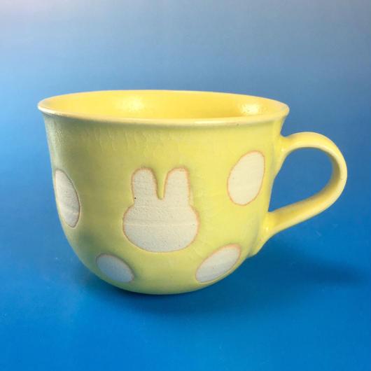 【M045】広口のうさぎ水玉模様のマグカップ小(イエロー・うさぎ印)