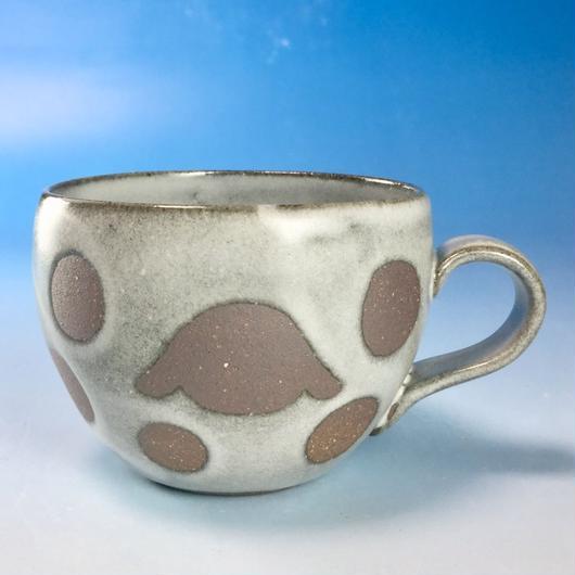 【M142】丸いフォルムのうさぎ水玉模様のマグカップ小(白マット赤土・ロップ・うさぎ印)