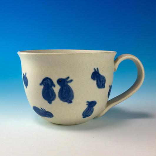 【M175】広口のうさぎ柄のマグカップ大(呉須手描き・うさぎ印)