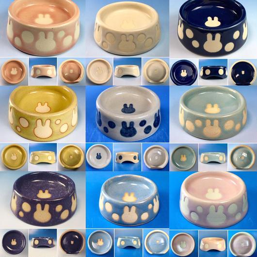 【Reserved item】うさぎ水玉模様のうさぎ様用食器・Sサイズ(立ち耳柄・選べるカラー9色・うさぎ印)