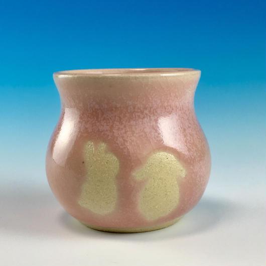 【Z025】うさぎ柄の楊枝立て(桜花ピンク・うさぎ印)