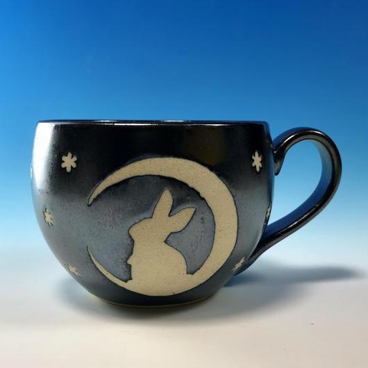 【M214】月夜のうさぎ柄の丸マグカップ大(銀彩釉・うさぎ印)
