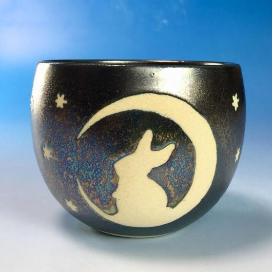 【F012】月夜のうさぎ柄のフリーボール(銀彩釉・うさぎ印)