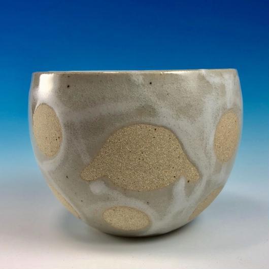 【F016】うさぎ水玉模様のフリーボール(白マット白土・ロップ・うさぎ印)