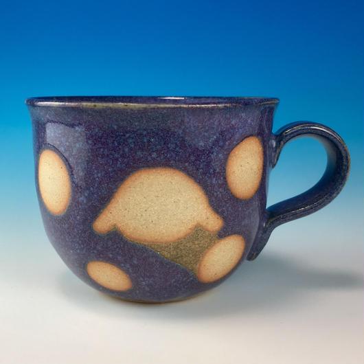 【M165】広口のうさぎ水玉模様のマグカップ小(淡青白土・うさぎ印)