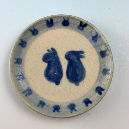 【S041】豆皿(呉須手描き・うさぎ印)