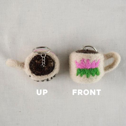 COFFEE CUP FELT KEY HOLDER