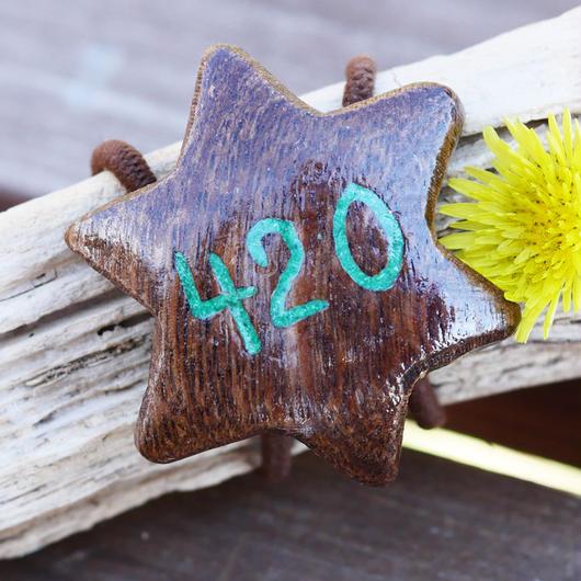 ウッドへアゴム 420手彫り天然石