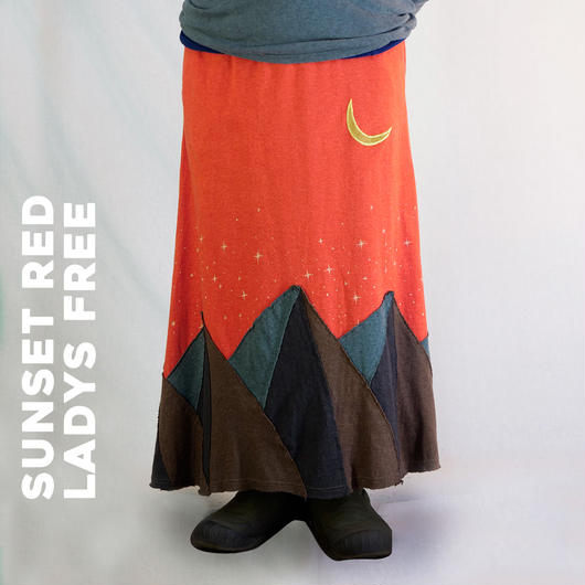 MOON&MOUNTAIN パッチワークロングスカート  SUNSET RED