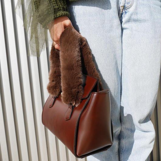 【ラスト1点】ファーハンドバッグ/brown