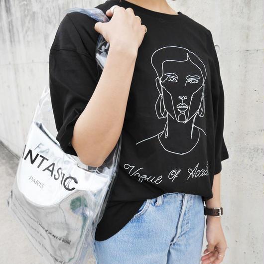 手書きアートプリントTシャツ white/gray/black