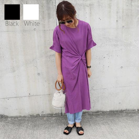 カットソーワンピース black/white/purple