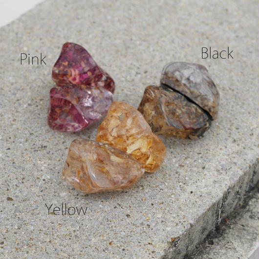 flourストーンピアス pink/yellow/black