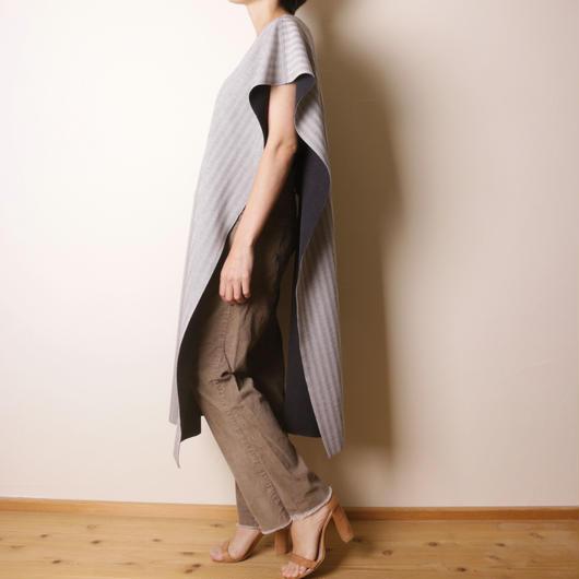 【&her】Herringbone Poncho  /Gray