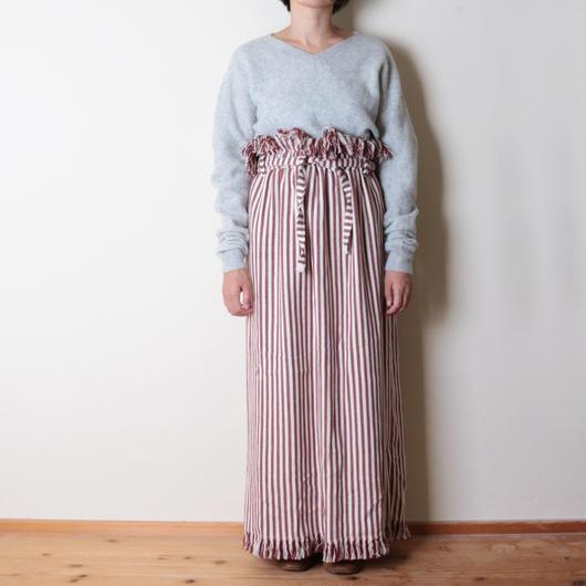 【&her】Highwest Stripe Skirt/Red