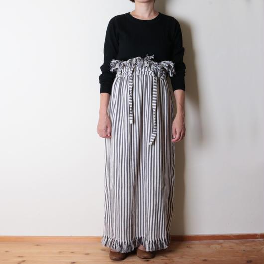 【&her】Highwest Stripe Skirt/Gray