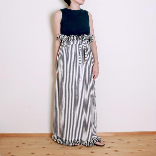 【&her】Highwest Stripe Skirt/Gray ⁂Delivery:8月10日前後⁂
