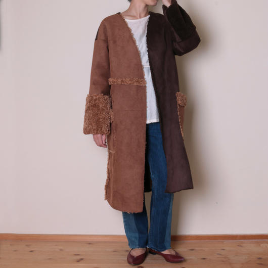 【&her】Reversible Mouton Coat/Brown