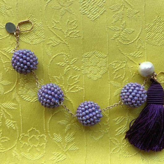 月輪屋 tete ボンボン羽織紐 マットパープル(タッセル)