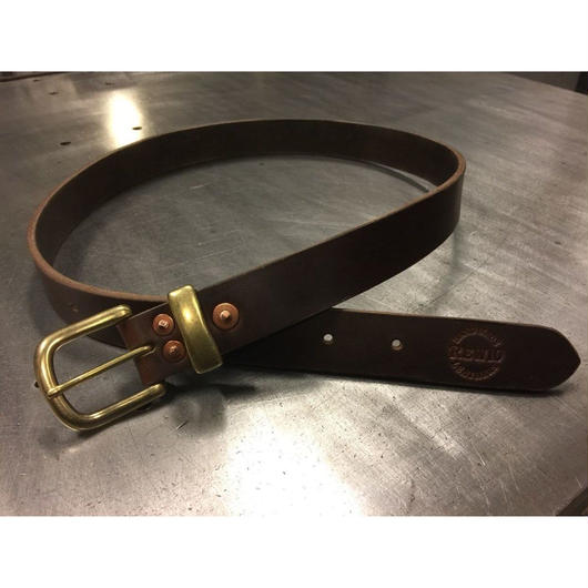 REW10 LEATHERS RIVETED BELT    HORWEEN CHROMEXCEL BROWN