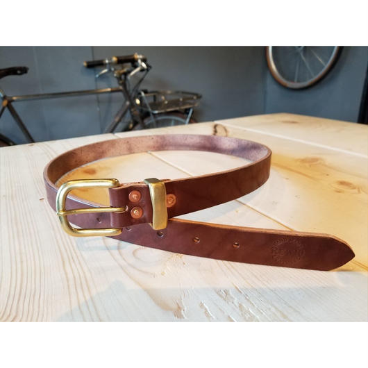 REW10 LEATHERS RIVETED BELT  RUSSET BROWN