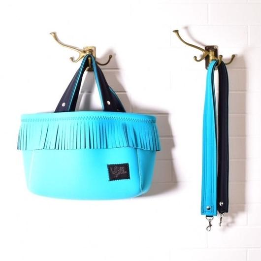 NEW_Lozz Sandra/Fringe Totebag_All Turquoiseストラップ付き