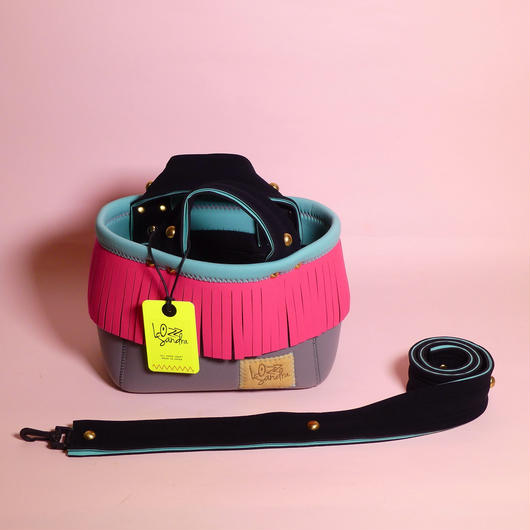 Lozz Sandra/Fringe minitotebag/Neon pink fringe