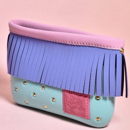 Lozzsandra  Fringe Mini Cluthbag/Lavender Fringe