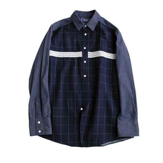 Rhythmor(リズモア)レース切替ネイビーウインドーペンシャツ