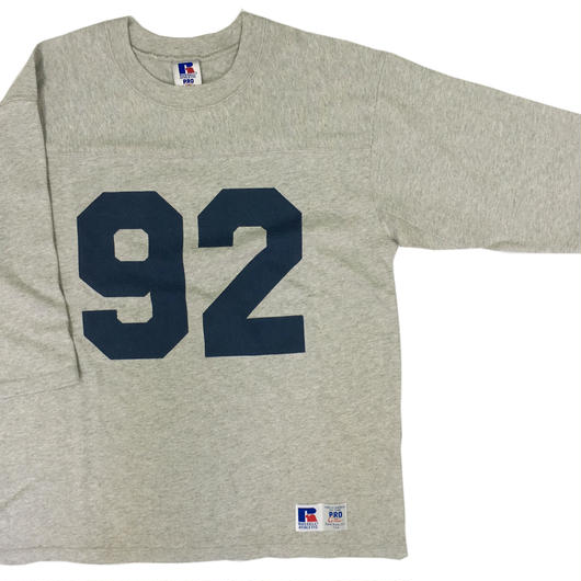 "RUSSELL ""PRO COTTON""  3/4 SLEEVE FOOTBALL T [H.GRAY] RC-17FW717"