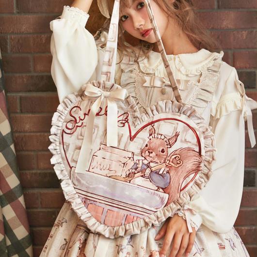 HONEY HONEY LOLITA-  Annie'sBreakfast アニーの朝食 リスフリルピローバッグ