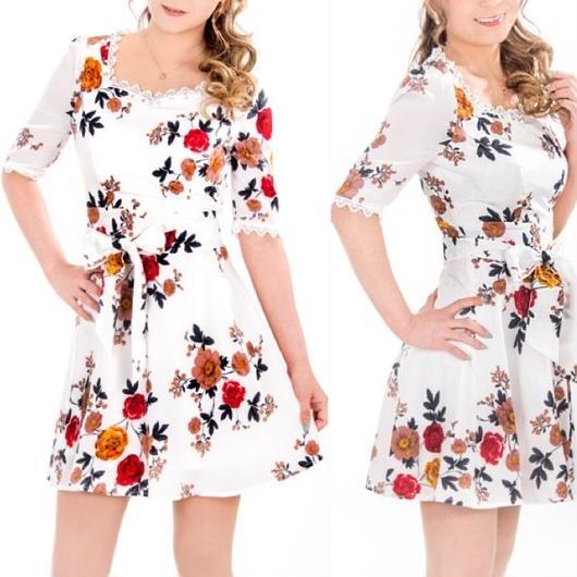 花柄ワンピドレス