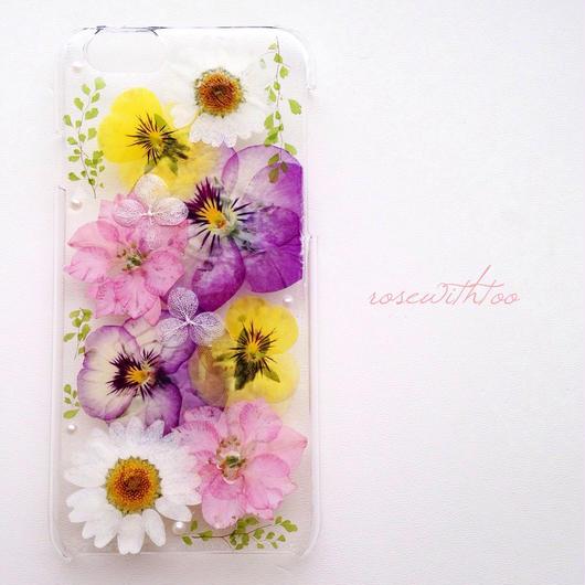 iPhone6用 フラワーアートケース 押し花デザイン0224_1