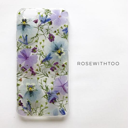 押し花iPhoneケース 0528_1 Gypsophila blue