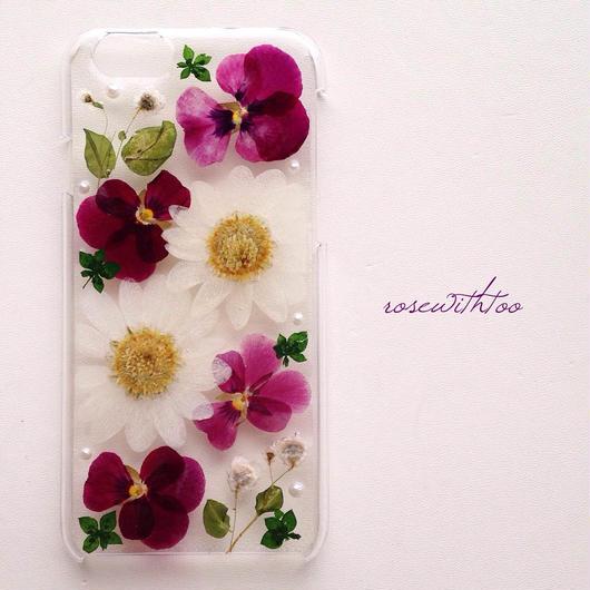 iPhone6用 フラワーアートケース 押し花デザイン0125_2