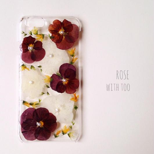 iPhone6用 フラワーアートケース 押し花デザイン001