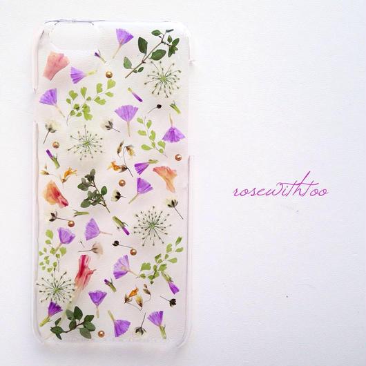iPhone6用 フラワーアートケース 押し花デザイン0226_1