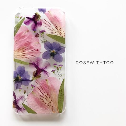 押し花iPhoneケース 0730_2 alstroemeria pink