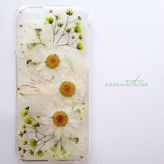 iPhone6用 フラワーアートケース 押し花デザイン 0329_2