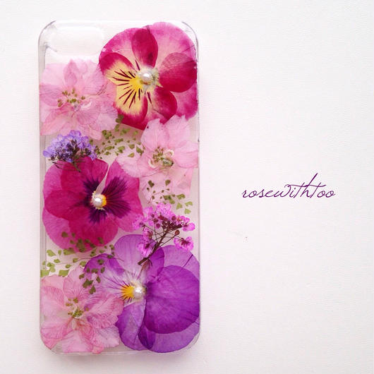iPhone5/5s用 フラワーアートケース 押し花デザイン0209_2