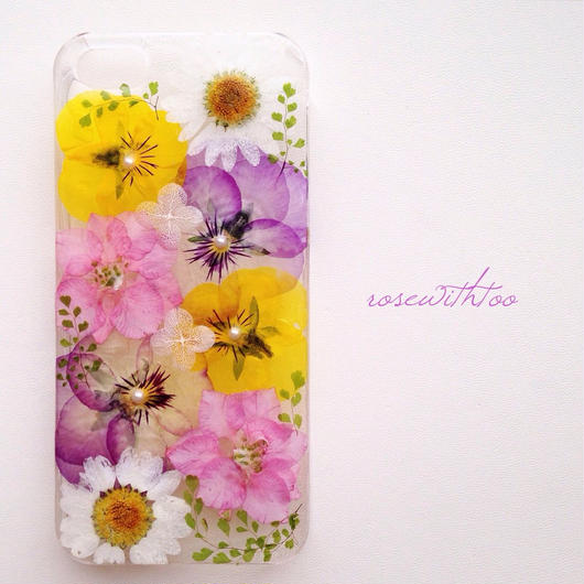 iPhone5/5s用 フラワーアートケース 押し花デザイン0216_3