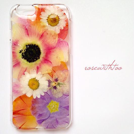 iPhone6用 フラワーアートケース 押し花デザイン 0318_3
