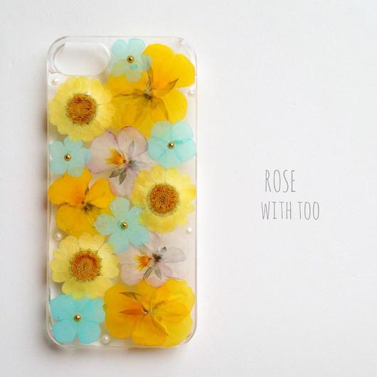 iPhone5/5s用 フラワーアートケース 押し花デザイン002