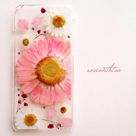 iPhone6用 フラワーアートケース 押し花デザイン0112_1