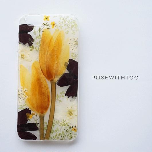 【再販アレンジ】押し花iPhoneケース 0924_5 Tulip
